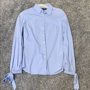 Light blue button down with tie sleeves